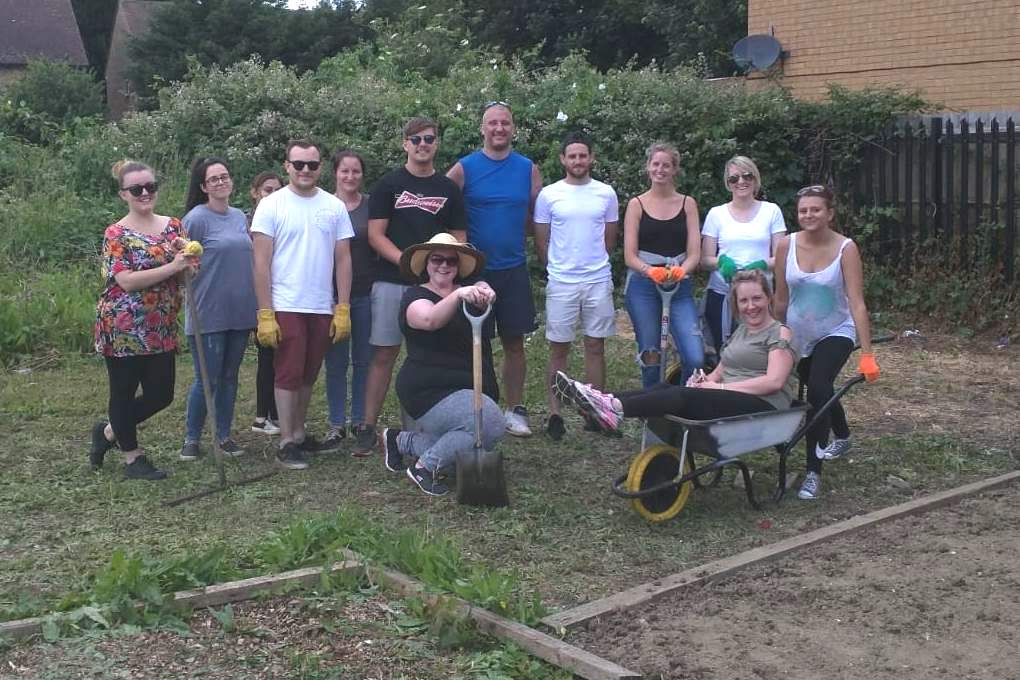 RBS preparing and working the community allotments at Cluniac gardens...